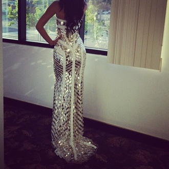 white dress gold dress long dress sleeveless dress prom dress gown