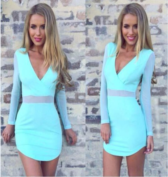 gauze mesh blue dress mini dress v neck
