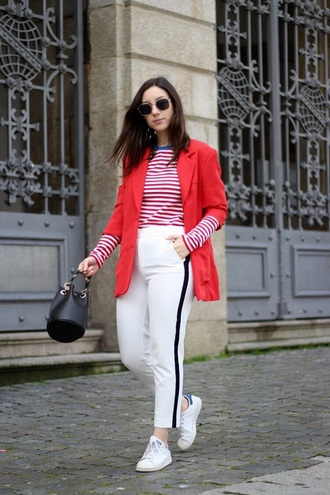 jacket blazer red blazer pants white pants side stripe pants sneakers top striped top stripes