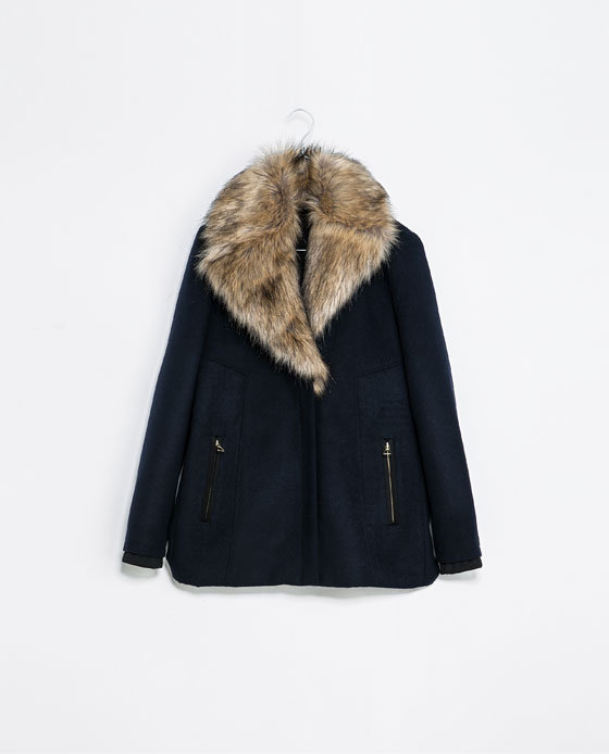THREE QUARTER LENGTH COAT WITH FUR COLLAR on Wanelo