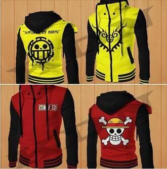 jacket one piece manga one piece anime jacket manga luffy trafalgar law anime sweater red yellow