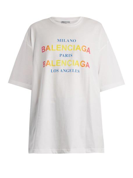 Balenciaga t-shirt shirt cotton t-shirt t-shirt cotton print white top
