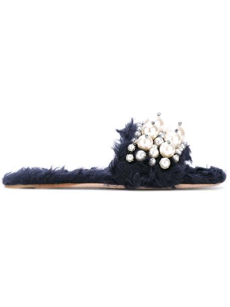 Miu Miu women embellished leather cotton blue shoes