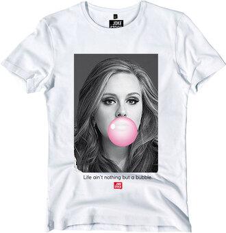 t-shirt celebrity adele bubble gum funny