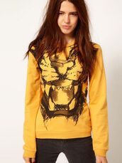 sweatshirt,yellow,tiger,tiger print