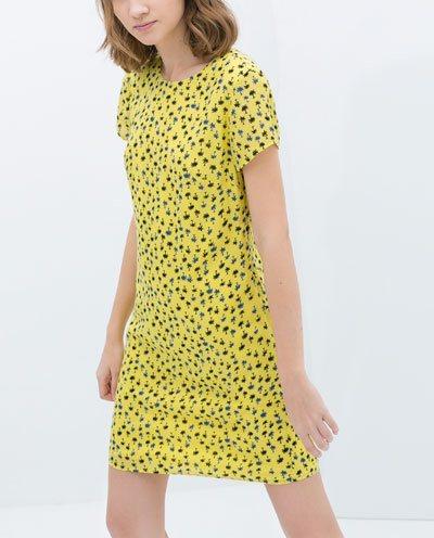 2014 New Spring Summer Women Ladies' Casual Small Tree Print Vestido Dress Yellow ZA Brand Short Sleeve Princess Dress A122 | Amazing Shoes UK