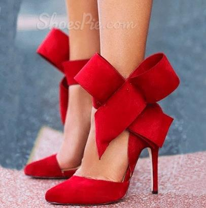 Red Suede Pointed Toe High Heel Sandals with Amazing Bowtie