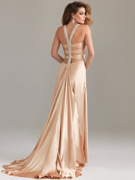 dress gold dress champagne dress backless dress maxi dress prom dress silk dress gold dress gold prom gown
