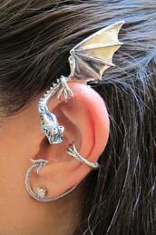 dragon,jewels,earrings,ear cuff,silver