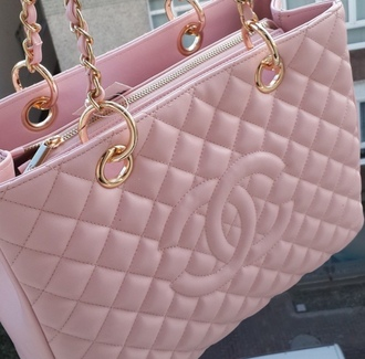 bag pink bag purse crossbody bag shoulder bag gold chain chanel fashion tumblr tumblr outfit chanel bag