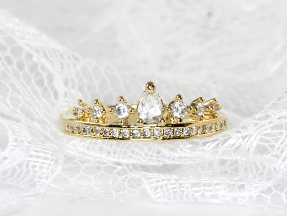 Crown/tiara ring in gold and silver by aliceandblue on etsy