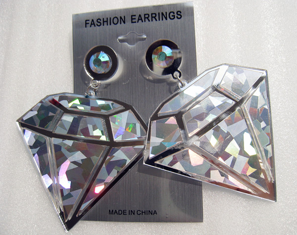jewels plastic earring big dimond laser