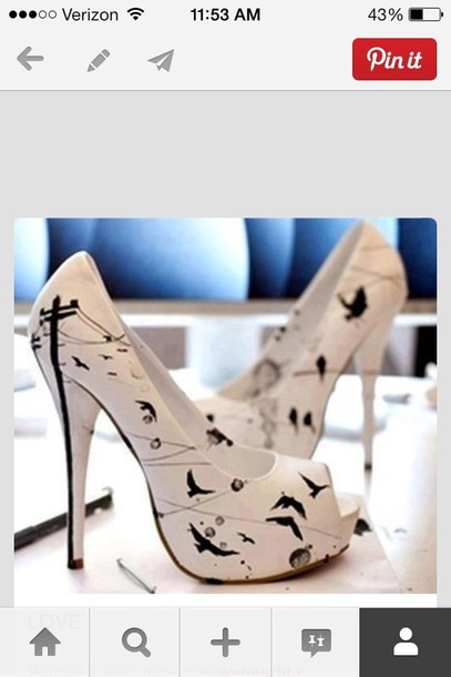 shoes white heels birds