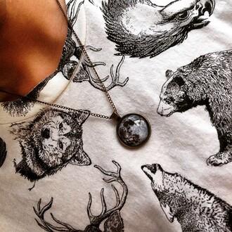shirt tshirt. deer bear whitr black animal clothing animals jewels