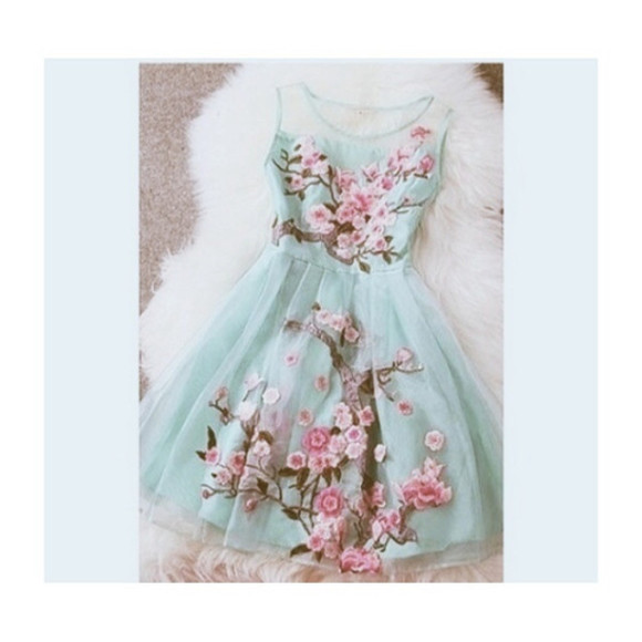mint floral floral dress pretty dress perfecto love culture organza pink tourquise