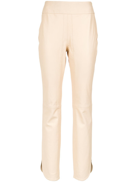 Lilly Sarti women leather nude pants