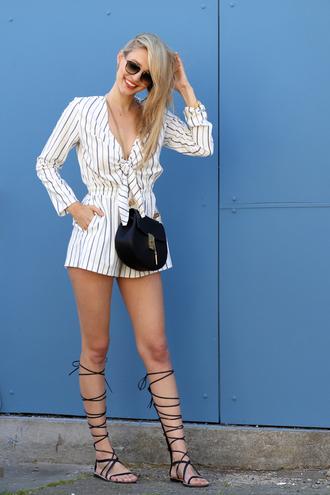 ohh couture blogger jumpsuit shoes sunglasses bag romper