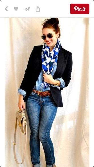scarf blue white style fashion pinterest preppy classy