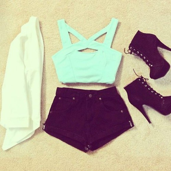 black denim shorts t-shirt crop tops bandeau mint green pastel colours criss cross strap black  high heels