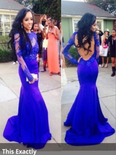 dress prom dress lace dress blue prom dress