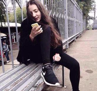shoes nike nike roshe run black fashion woman girl brand snearker sportswear