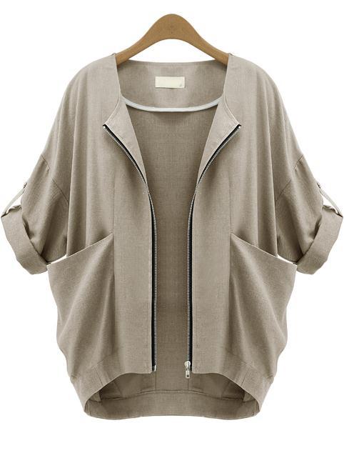 Apricot Short Sleeve Zipper Pockets Coat - Sheinside.com