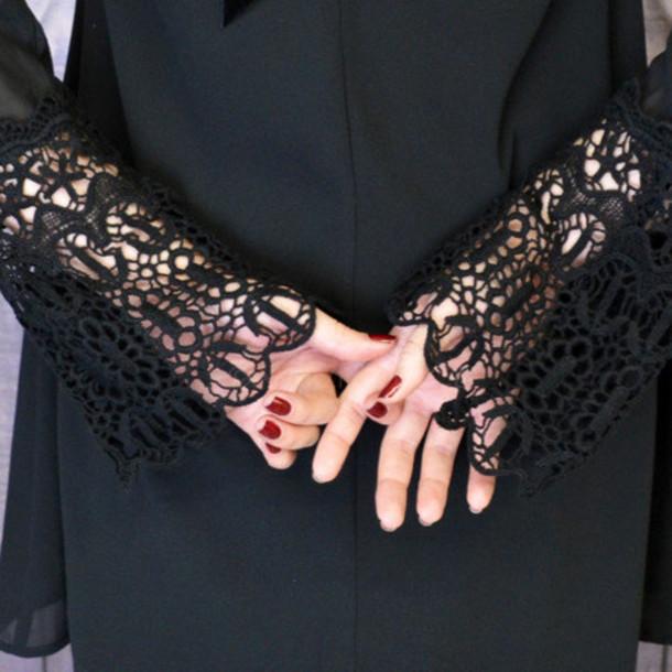 dress black lace crochet pretty fashion
