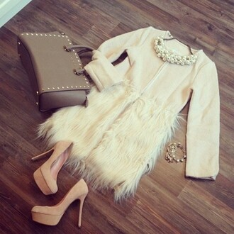 skirt fur furry skirt white classy stylish outfit classy outfit bag jacket shoes jewels dress shirt