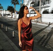 dress,red dress,satin,satin dress,red,burgundy,silk