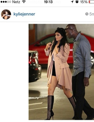 coat fall outfits shoes jacket kylie jenner pink cute peach ruffle black kylie jenner black heels boots
