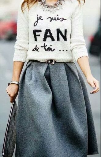 sweater french style black and white sweater gray  skirt silver necklace skirt jewels