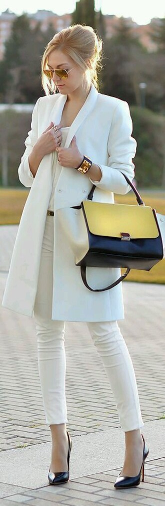 bag white bag handbag jacket white trench coat coat white pants classy