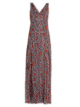 gown print orange dress