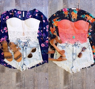 blouse outfit tumblr outfit kimono crop tops high waisted shorts rayban