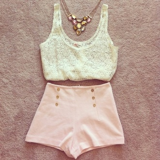 tank top summer jewels shorts high waisted shorts high waisted vintage pastel girly cute pink light white shirt lace top white pink shorts pink short short jeans top buttons t-shirt pastel pink light pink statement necklace lace crop tops skirt peach shorts dressy preppy necklace peach gold tumblr shorts jumpsuit