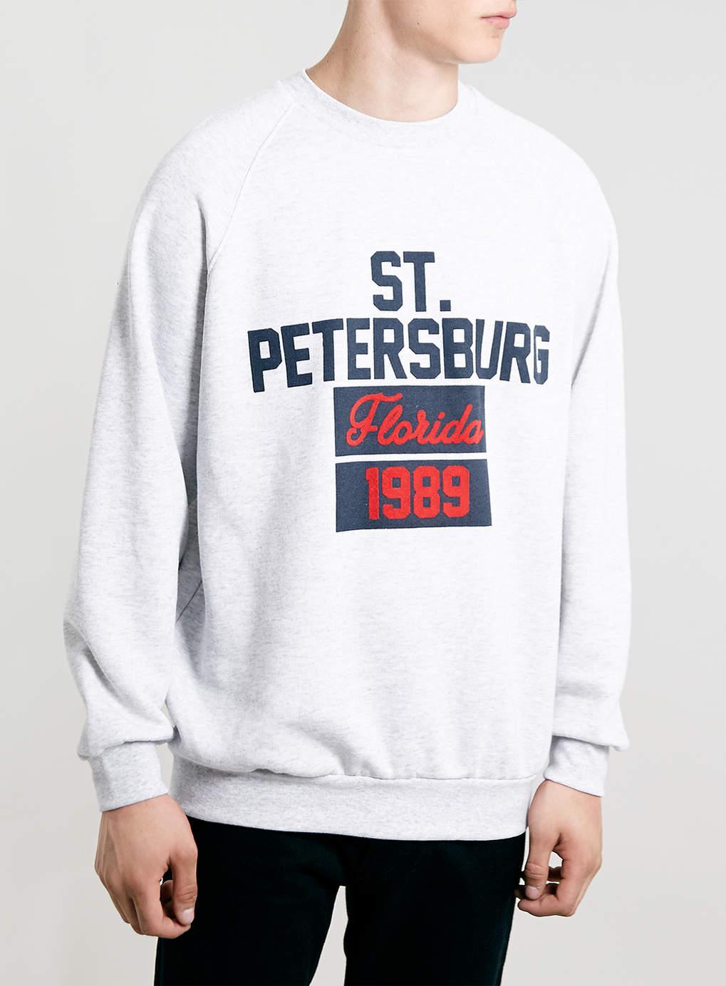 Topman gray frost oversize st petersburg raglan sweatshirt