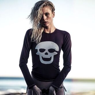 swimwear skull rashguard surf surfguard long sleeves skull t-shirt skull top swim top surfer style skull bikini long sleeve swimwear letarte fashion top designer swimwear