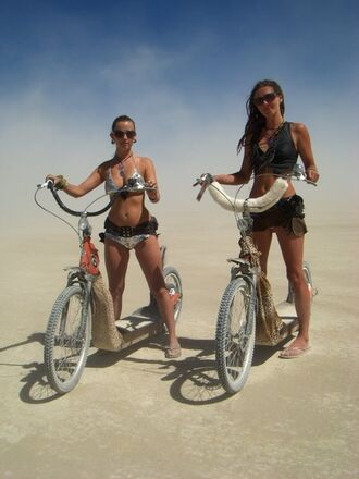 swimwear burning man burning man clothing burning man costume silver swimwear bikini swimwear two piece top crop tops black crop top shorts black shorts sunglasses festival music festival
