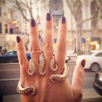 jewels ring big rings octopus jewelry rings knuckle ring gold ring jewelry hand jewelry ocean original gold bijoux bagues
