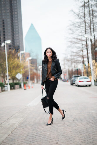 themilleraffect blogger jeans top shoes bag sunglasses jacket sweater pumps leather jacket black jeans winter outfits
