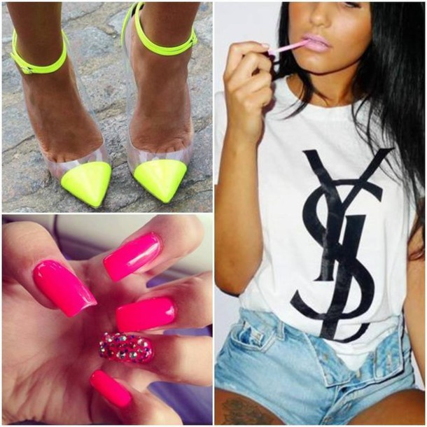 shirt ysl t-shirt yves saint laurent neon nails lime hot pink black and white shoes