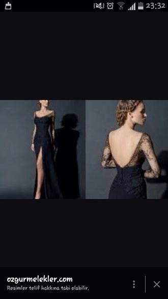 dress black sexy long