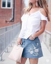 skirt,tumblr,mini skirt,denim,denim skirt,top,white top,bag,handbag,pink bag,cut-out shoulder top,cut out shoulder