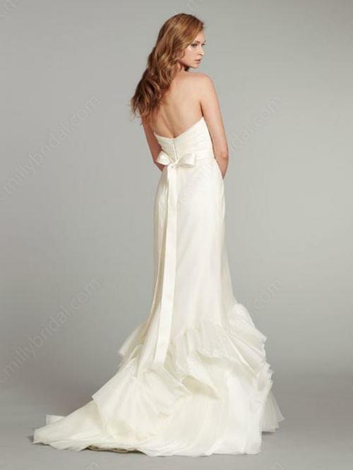 Trumpet/Mermaid Sweetheart Organza Floor-length Ruffles Wedding Dresses