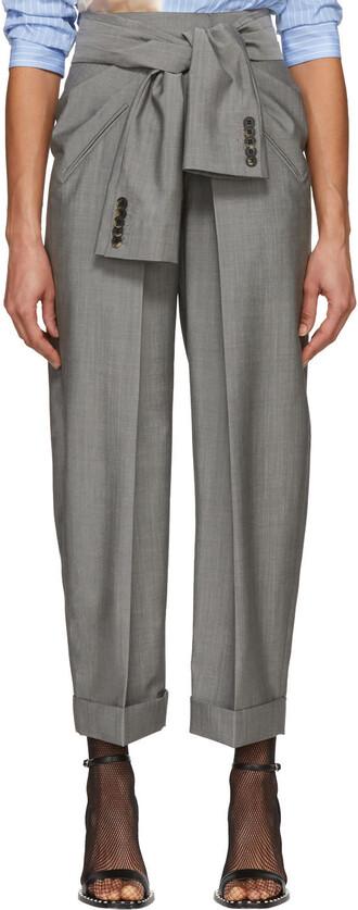 fit tie front grey pants