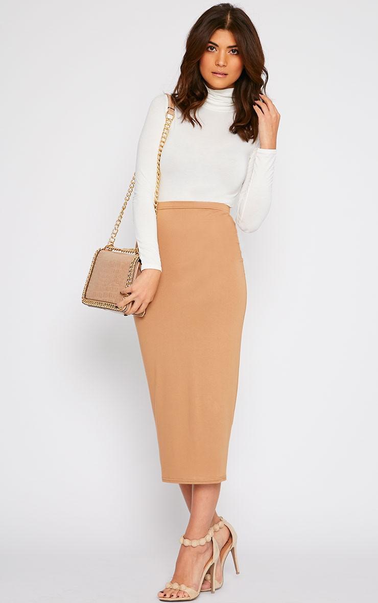 Camel Longline Jersey Midi Skirt - Skirts - PrettyLittleThing ...