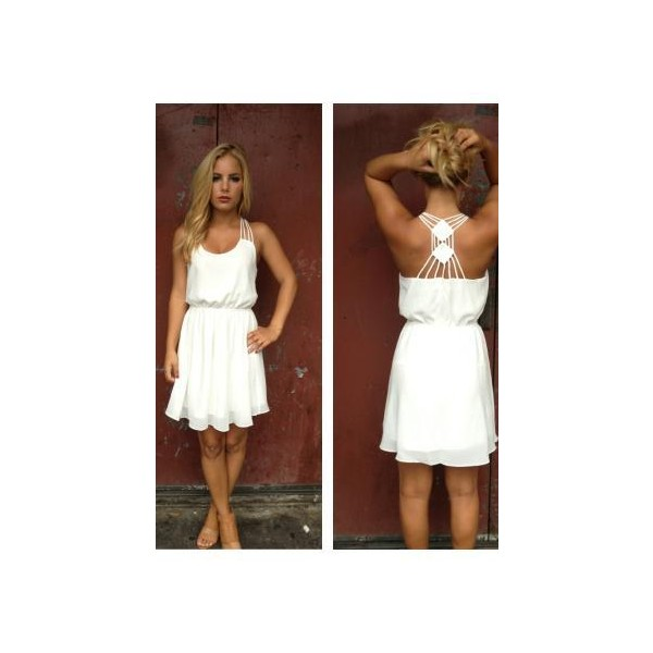 White Chiffon Double Diamond Strappy Back Dress - Polyvore