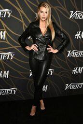 jacket,blazer,all black everything,leather,leather jacket,black leather pants,charlotte mckinney