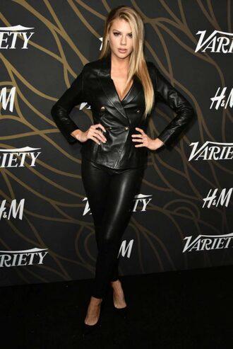 jacket blazer all black everything leather leather jacket black leather pants charlotte mckinney