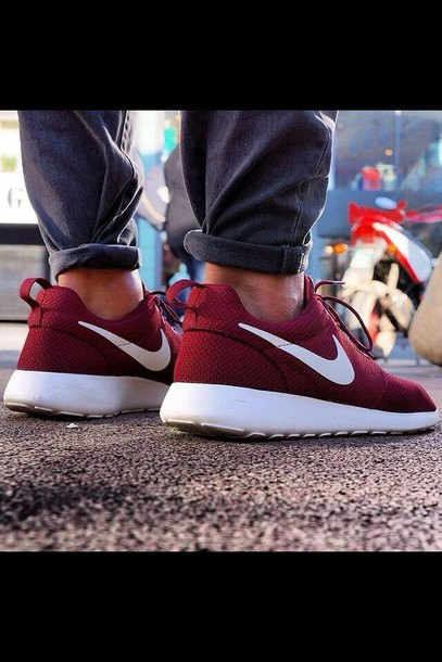 shoes nike roshe run burgundy white nike sneakers roshes fall outfits nike  running shoes burgundy detail
